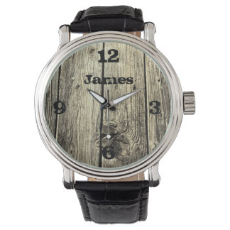 Rustic Weathered Wood Add Your Name Wrist Watch