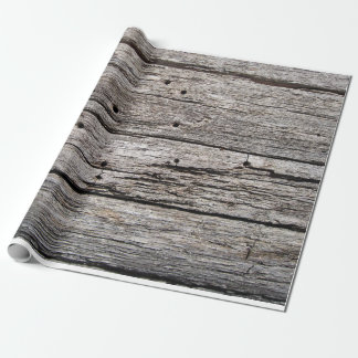 Rustic weathered wood beach panels wrapping paper