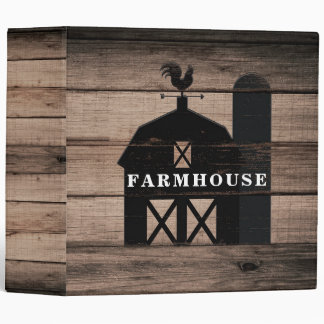 Rustic Weathered Wood Black Barn Country Farmhouse 3 Ring Binder