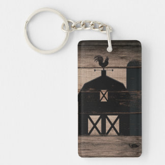 Rustic Weathered Wood Black Barn Country Farmhouse Keychain