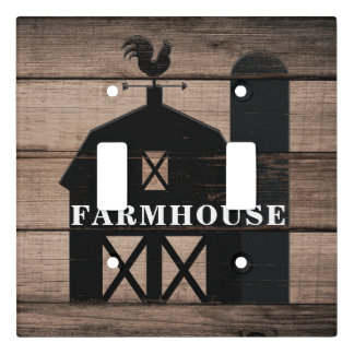 Rustic Weathered Wood Black Barn Country Farmhouse Light Switch Cover