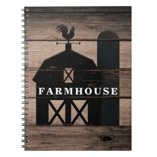 Rustic Weathered Wood Black Barn Country Farmhouse Notebook