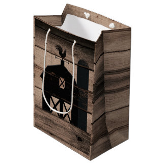 Rustic Weathered Wood Black Barn Country Wedding Medium Gift Bag