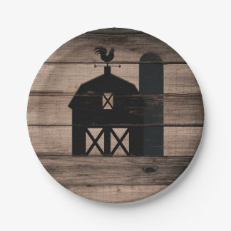 Rustic Weathered Wood Black Barn Country Wedding Paper Plate