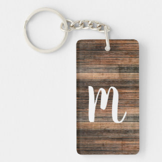 Rustic Weathered Wood Brown Barn Country Chic Keychain