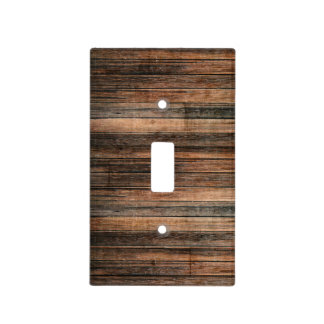 Rustic Weathered Wood Brown Barn Country Farmhouse Light Switch Cover