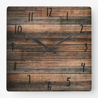 Rustic Weathered Wood Brown Barn Country Farmhouse Square Wall Clock