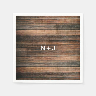 Rustic Weathered Wood Brown Barn Country Wedding Paper Napkin