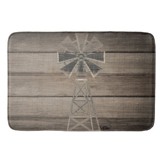 Rustic Weathered Wood Country Wind Mill Bath Mat