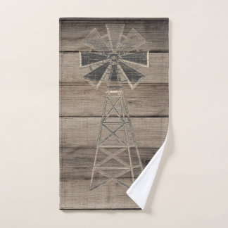 Rustic Weathered Wood Country Wind Mill Bath Towel Set
