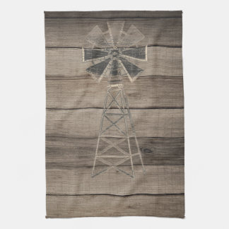Rustic Weathered Wood Country Wind Mill Kitchen Towel