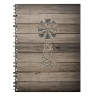 Rustic Weathered Wood Country Wind Mill Notebook