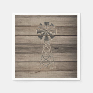 Rustic Weathered Wood Country Wind Mill Wedding Paper Napkin