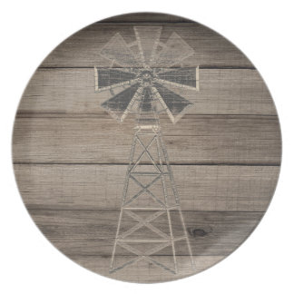 Rustic Weathered Wood Country Wind Mill Wedding Plate