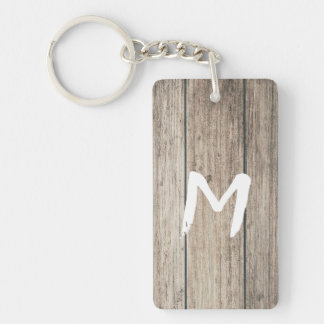 Rustic Weathered Wood Farmhouse Barn Country Keychain