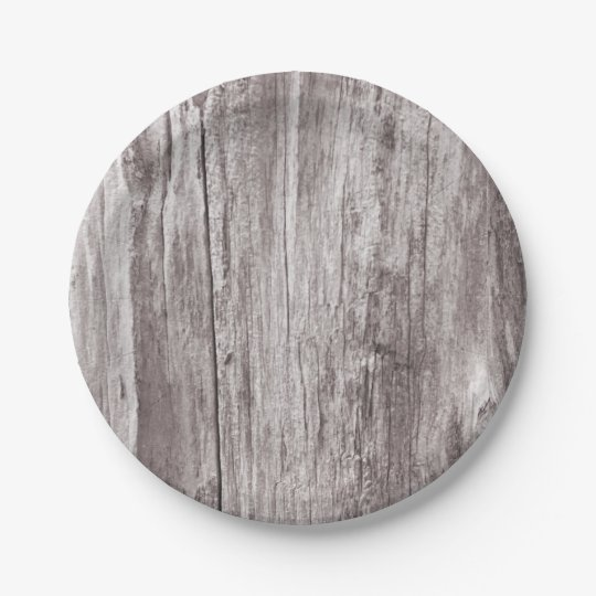 Rustic Weathered Wood Texture 7 Inch Paper Plate