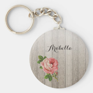 Rustic Weathered Wood Vintage Pink Rose With Name Keychain