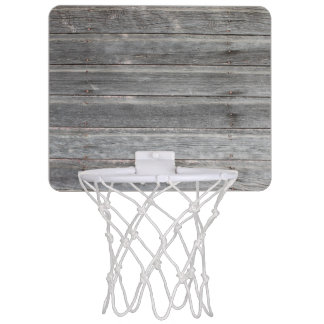 Rustic Weathered Wood Wall Mini Basketball Hoop