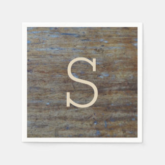 Rustic Weathered Wood Wedding Monogrammed Initial Disposable Napkins