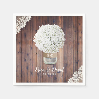 Rustic Wedding Baby's Breath Floral Mason Jar Barn Paper Napkins