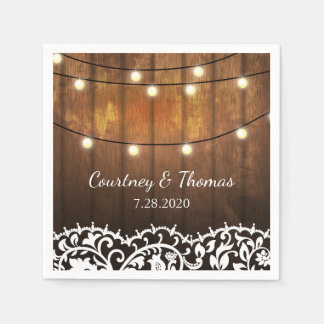 Rustic Wedding Barn Wood, Lace and String Lights Disposable Napkins