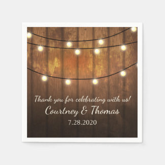 Rustic Wedding Barnwood Magical Twinkle Lights Disposable Napkin