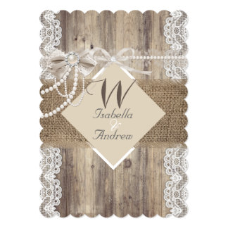"Rustic Wedding Beige Pearl Lace Wood Burlap 5"" X 7"" Invitation Card"