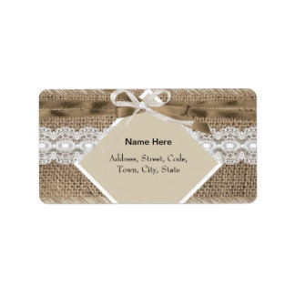 Rustic Wedding Beige White Lace Burlap Label