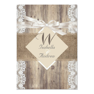 "Rustic Wedding Beige White Lace Wood Burlap 2 5"" X 7"" Invitation Card"