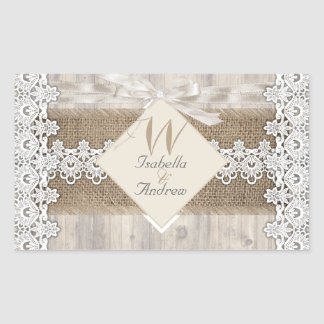 Rustic Wedding Beige White Lace Wood Burlap AB Sticker