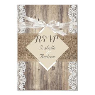 "Rustic Wedding Beige White Lace Wood RSVP 3.5"" X 5"" Invitation Card"