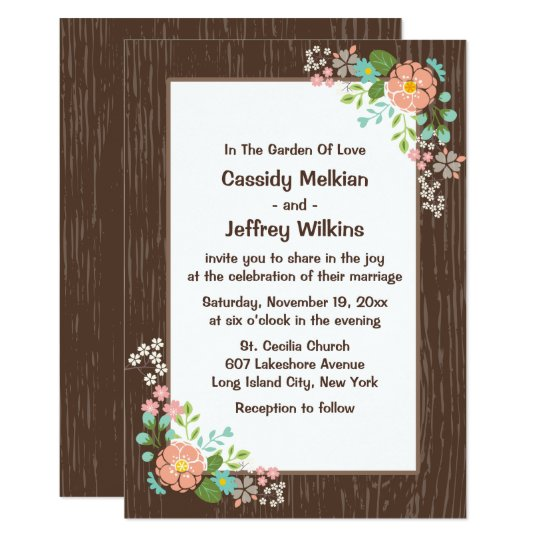 Rustic Wedding Brown Wood Pink Floral Doves Card