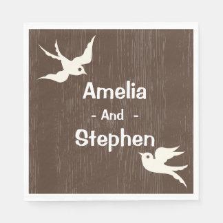 Rustic Wedding Brown Wood White Lovebirds Doves Paper Napkins