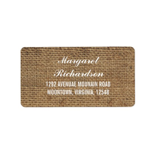 rustic wedding burlap address labels