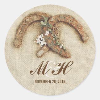 rustic wedding burlap horseshoes stickers
