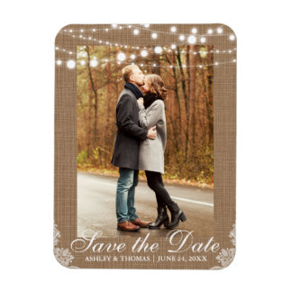 Rustic Wedding Burlap Lace Lights Save the Date Magnet