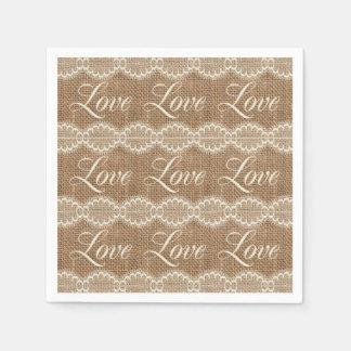 Rustic Wedding Burlap Lace Love Paper Napkin