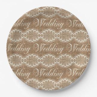 Rustic Wedding Burlap Lace 9 Inch Paper Plate