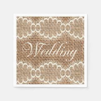 Rustic Wedding Burlap Lace Paper Napkins