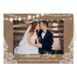 Rustic Wedding Burlap Lace Thank You Notecard