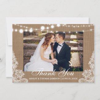 Rustic Wedding Burlap Lights Lace Photo Thank You