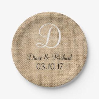 Rustic Wedding Burlap Name Date Monogram Paper Plate