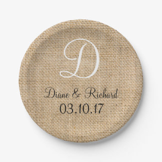 Rustic Wedding Burlap Name Date Monogram 7 Inch Paper Plate
