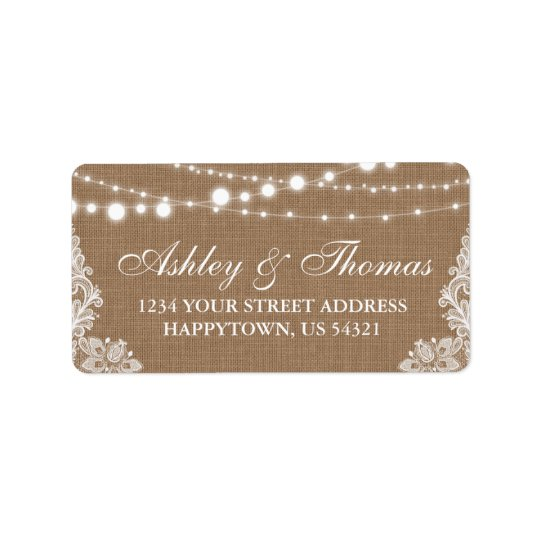 Rustic Wedding Burlap String Lights Lace Address Label