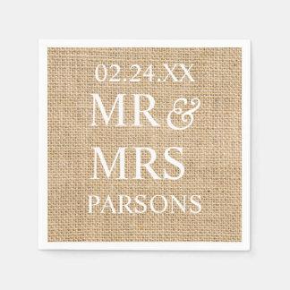 Rustic Wedding Burlap Trendy Wedding Name Date Disposable Napkins