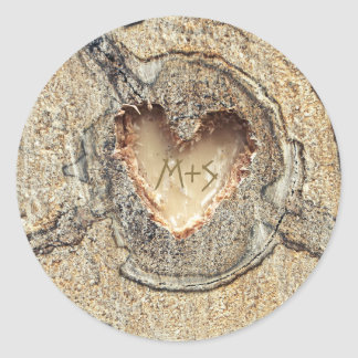 Rustic Wedding Carved Wood Heart Classic Round Sticker