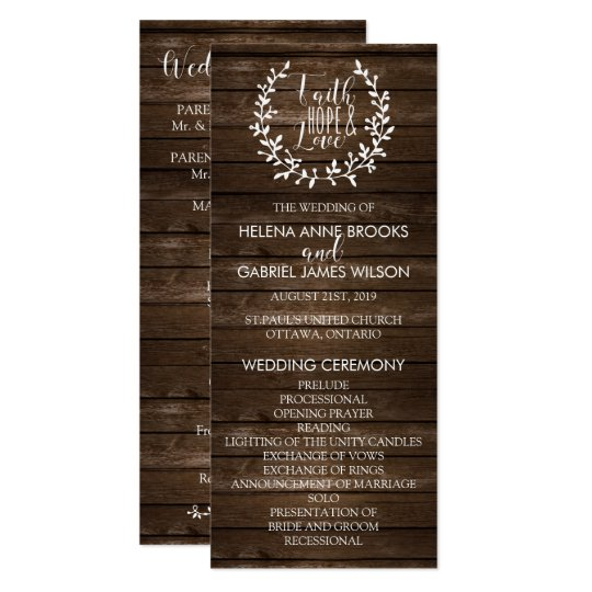Rustic Wedding Ceremony Program