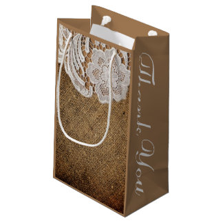 rustic wedding country burlap lace wedding favor small gift bag