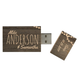 Rustic Wedding Couple's Names Date Personalized Wood USB 2.0 Flash Drive