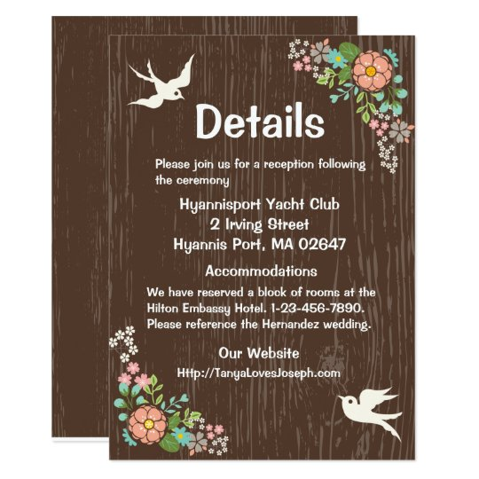 Rustic Wedding Details Brown Wood Floral Doves Card